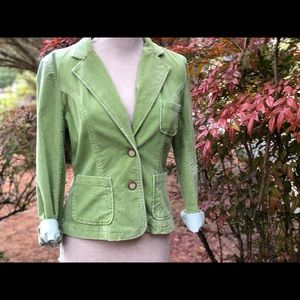 INC soft corduroy bright green jacket M